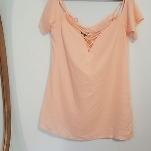 Boohoo sz 14 peach pink maria lace up dress